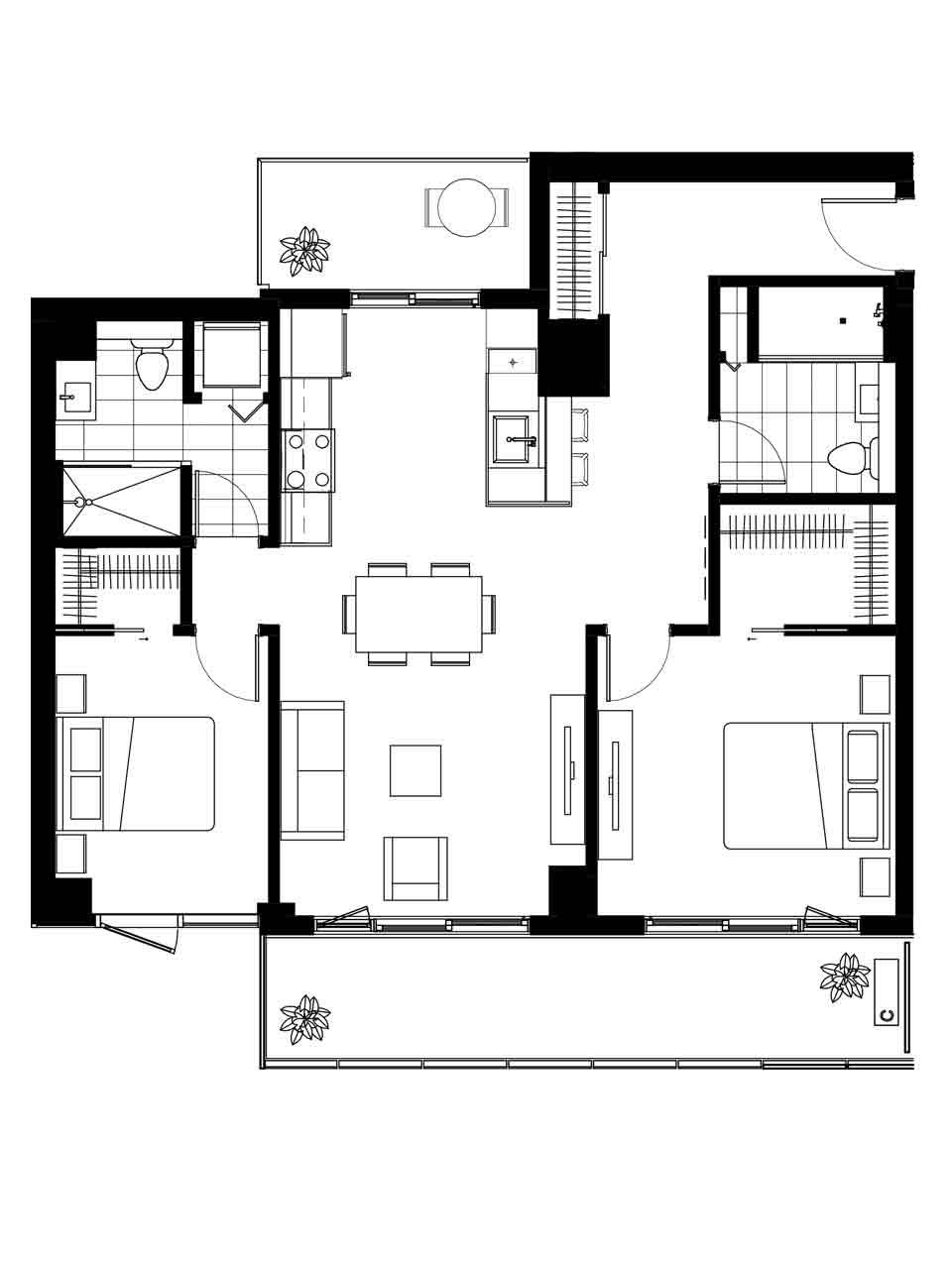 Plan condo modele B.3